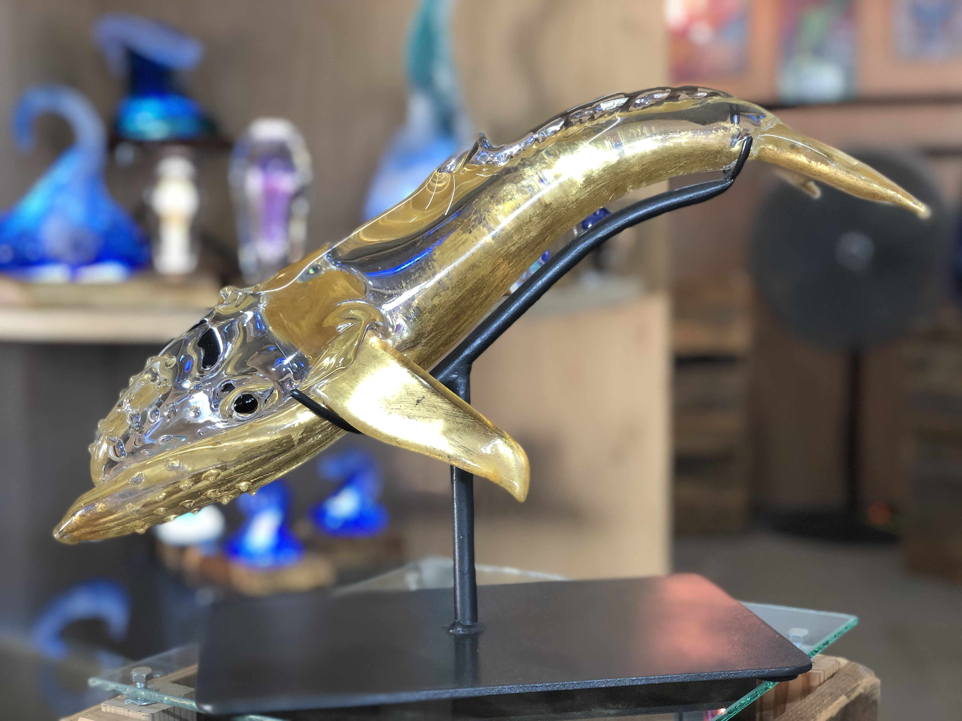 24 karat gold plated whale glass blowing