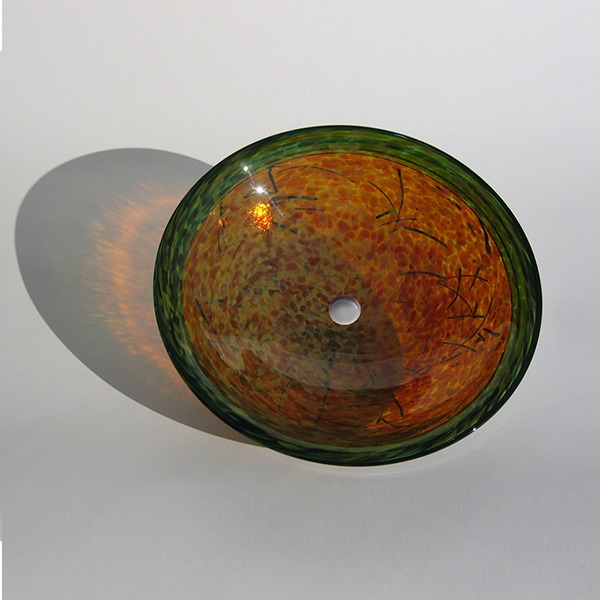Amber Nest Sink<br> Amber with Black Stringers and Jade Lip Wrap<br> Shimmer treatment on back<br>15″ +/- 1″ diameter by 6″ +/- 1″ deep