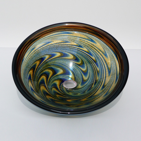 Blue Amber Vortex Sink<br>Cobalt Blue and Elegant Amber in Reversal Pattern with Light Topaz Lip<br>15″ +/- 1″ diameter by 6″ +/- 1″ deep