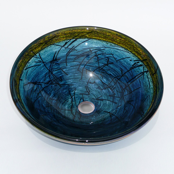 Deep Jade Green Nest Sink<br> Deep Jake Green Twisted Frit with Black Stringers and Light Topaz Lip<br> Shimmer Treatment Outside<br>15″ +/- 1″ diameter by 6″ +/- 1″ deep