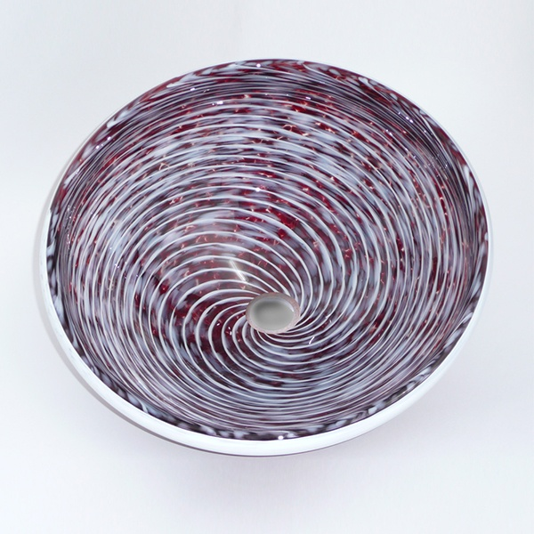 Deep Red Flame Whirlpool Sink<br>Deep Fire Red Frit with Cloud White Spiral and Lip Wrap<br>15″ +/- 1″ diameter by 6″ +/- 1″ deep