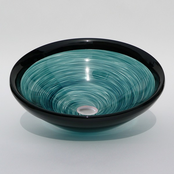 Jade Swirl Sink with Black Lip Wrap<br>15″ +/- 1″ diameter by 6″ +/- 1″ deep