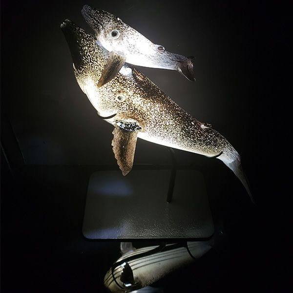 <p>First Breath Humpback Mother and Calf<br> Internally Illuminated with LEDs <br>16 in long, 20 in tall</p>
