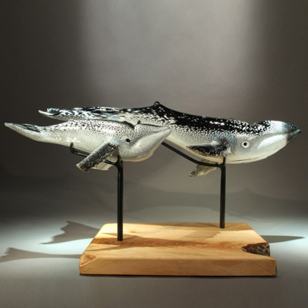 <p>Mother and Calf Humpback Whales in Black and White. Maple Base. <br> 26 in long, 12 in wide, 9 in tall.</p>