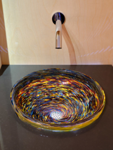 "Red Blue Amber Twist Sink <br>15-16″ +/- 1″ diameter by 5-6″ +/- 1"" deep"
