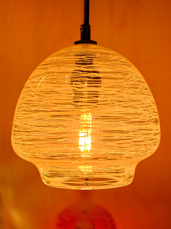 Clear With White Threading Pendant Appx 7 In Tall By 6 In- Wide