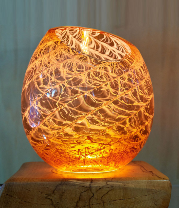 Cut Top Vessel in Apricot with Avocado Wood LED Base