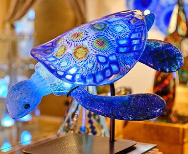 Murrine Honu in Blue and Rainbow Product Image