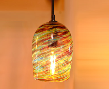 Red Blue Amber Pendant Light appx. 7 in tall x 5 in wide feature image