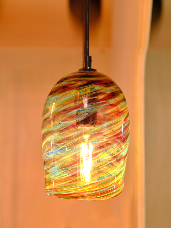 Red Blue Amber Pendant Light appx. 7 in tall x 5 in wide