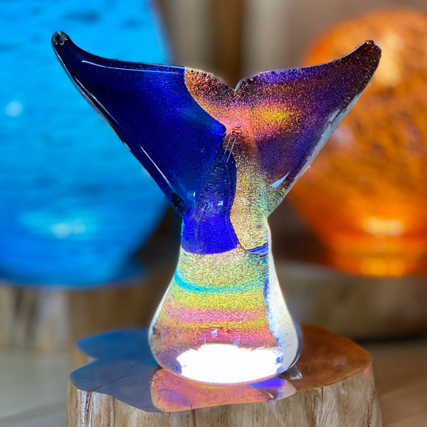 "<p>Dichroic Whale Tail <br>Dim: 8.5"" tall x 8"" wide<br> Retail Price: $1026<br>These are one-of-a-kind pieces. Pictured is the actual art you'll receive</p>"