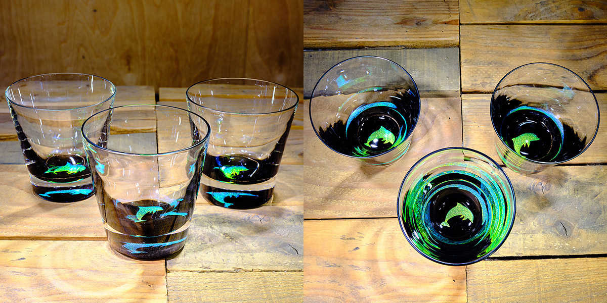 Dolphin Rocks Glass in Brilliant Emerald/Ice Blue – $75 Each