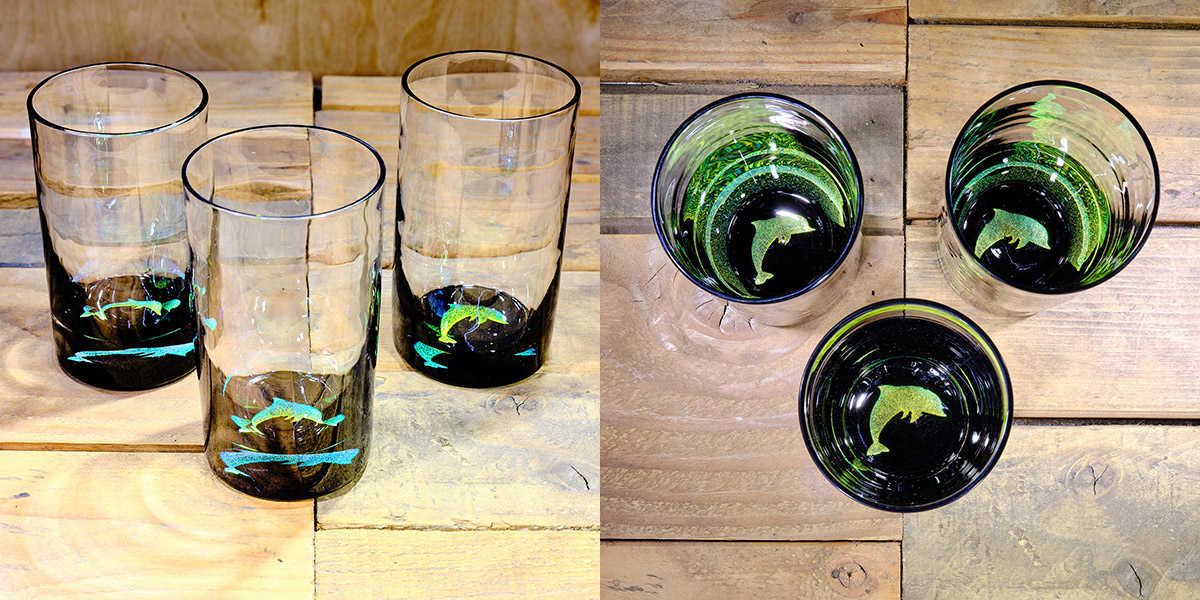 Dolphin Water Glass in Brilliant Emerald/Ice Blue – $75 Each
