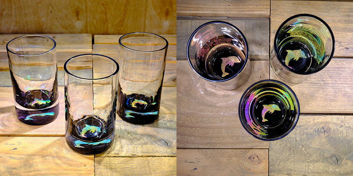 Dolphin Water Glass in Multi-color – $75 Each