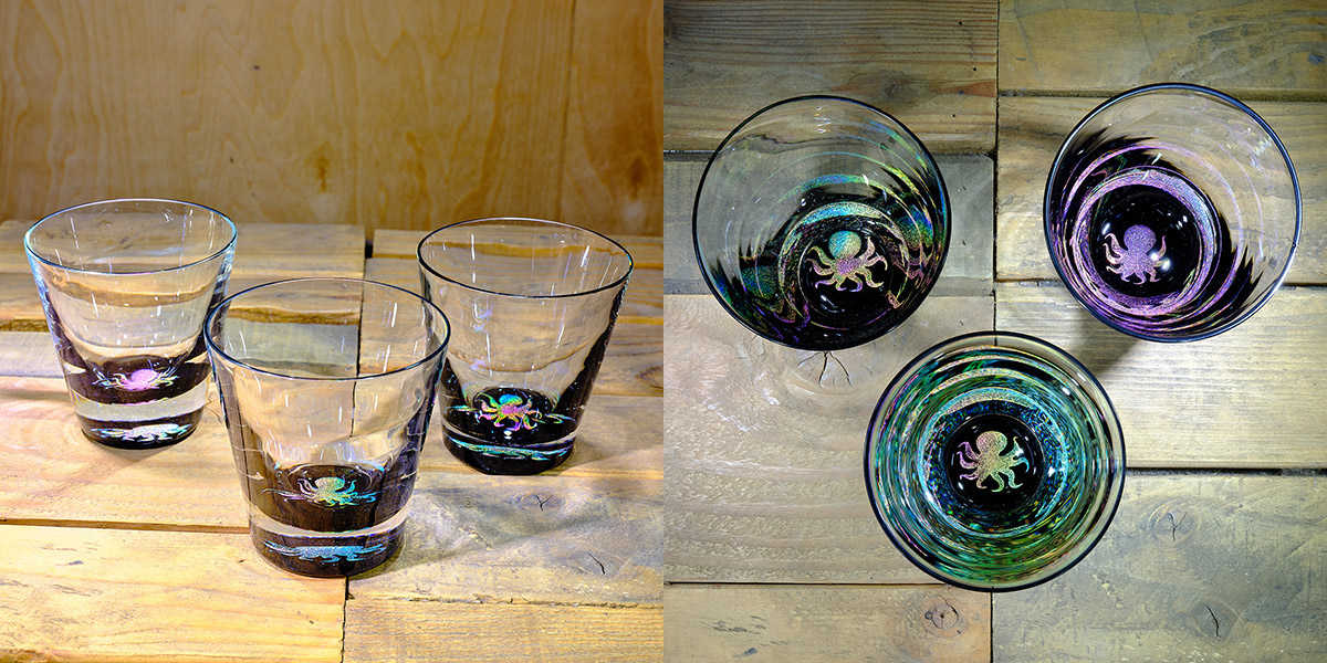 Octopus Rocks Glass in Multi-color – $75 Each