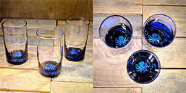 Octopus Water Glass in Ocean Blue/Seafoam Green – $65 Each
