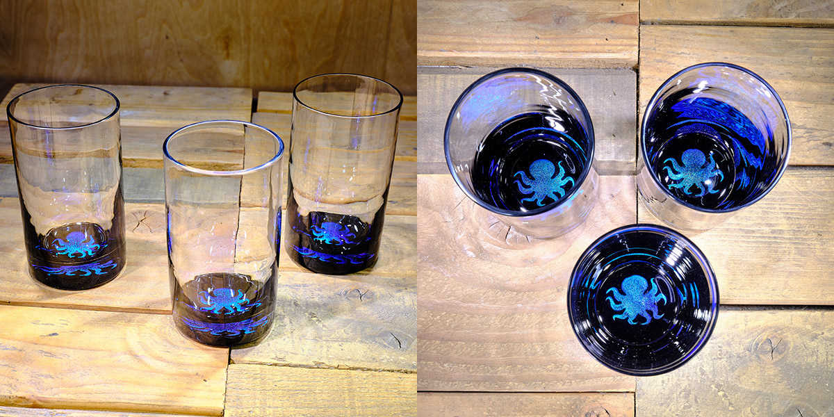 Octopus Water Glass in Ocean Blue/Seafoam Green – $75 Each