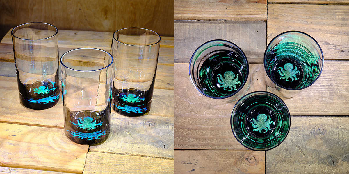 Octopus Water Glass in Brilliant Emerald/Ice Blue – $75 Each