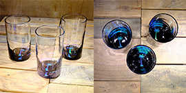 Palm Tree Water Glass in Ocean Blue/Seafoam Green – $65 Each