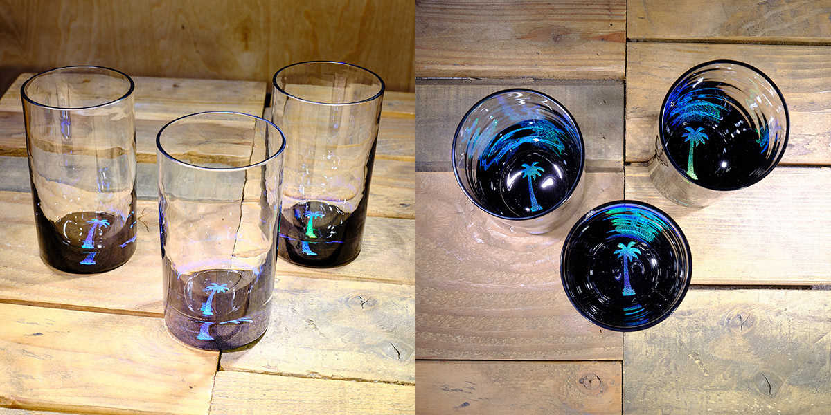 Palm Tree Water Glass in Ocean Blue/Seafoam Green – $75 Each