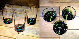 Palm Tree Water Glass in Brilliant Emerald/Ice Blue – $65 Each