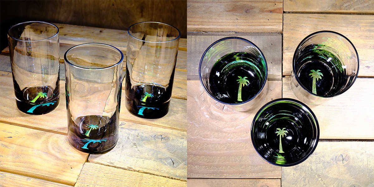 Palm Tree Water Glass in  Brilliant Emerald/Ice Blue – $75 Each