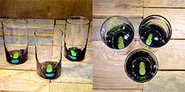 Pineapple Water Glass in Brilliant Emerald/Ice Blue – $65 Each