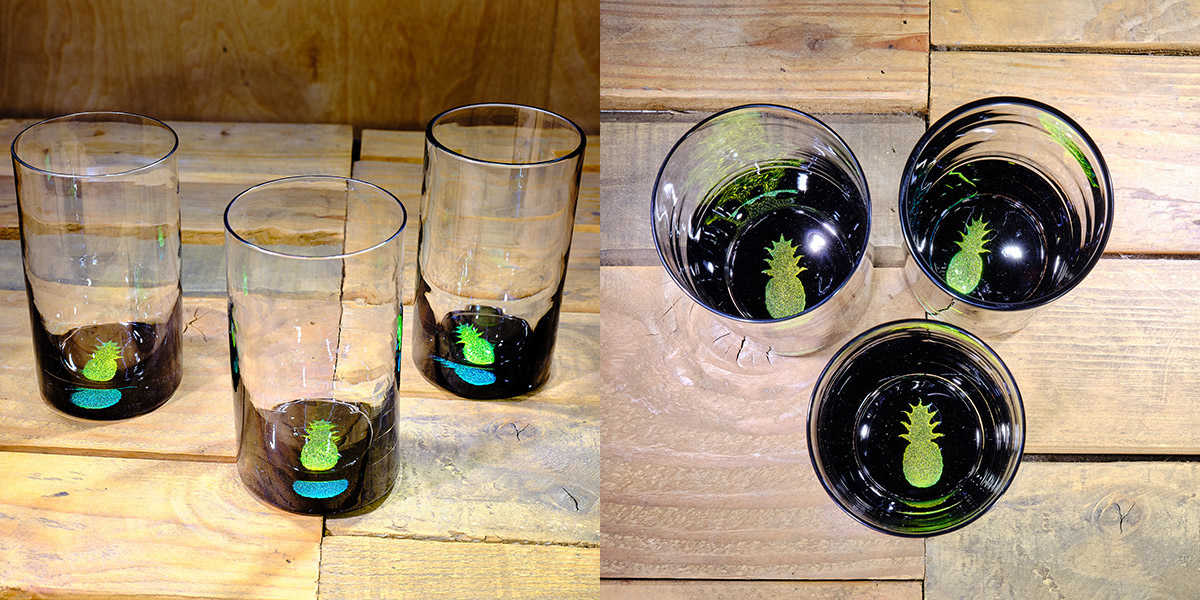 Pineapple Water Glass in Brilliant Emerald/Ice Blue – $75 Each