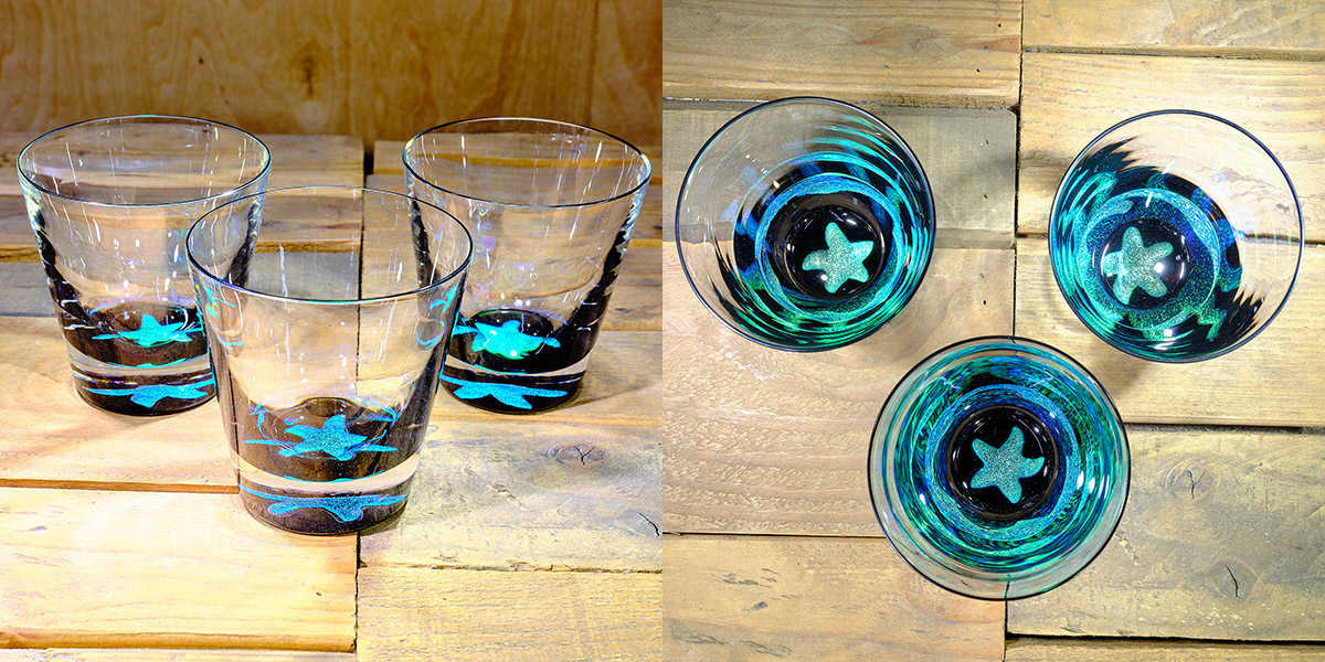 Starfish Rocks Glass in Brilliant Emerald/Ice Blue – $75 Each