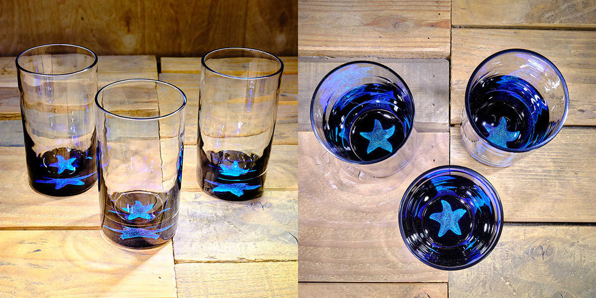 Starfish Water Glass in Ocean Blue/Seafoam Green – $75 Each