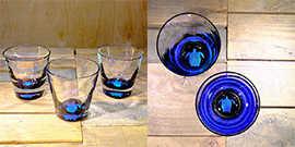Turtle Rocks Glass in Ocean Blue/Seafoam Green – $65 Each