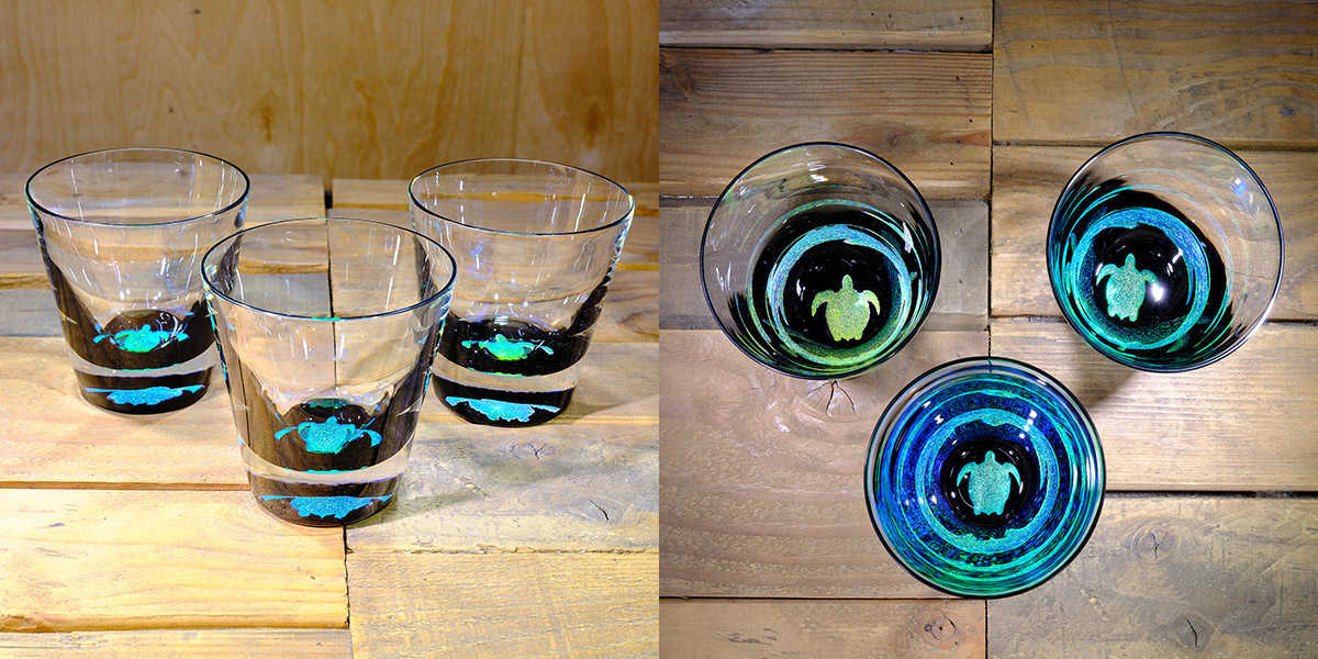 Turtle Rocks Glass in Brilliant Emerald/Ice Blue – $75 Each