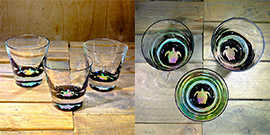 Turtle Rocks Glass in Multi-color – $65 Each