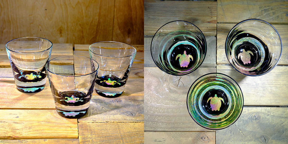Turtle Rocks Glass in Multi-color – $75 Each