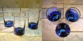 Dolphin Water Glass in Ocean Blue/Seafoam Green – $65 Each