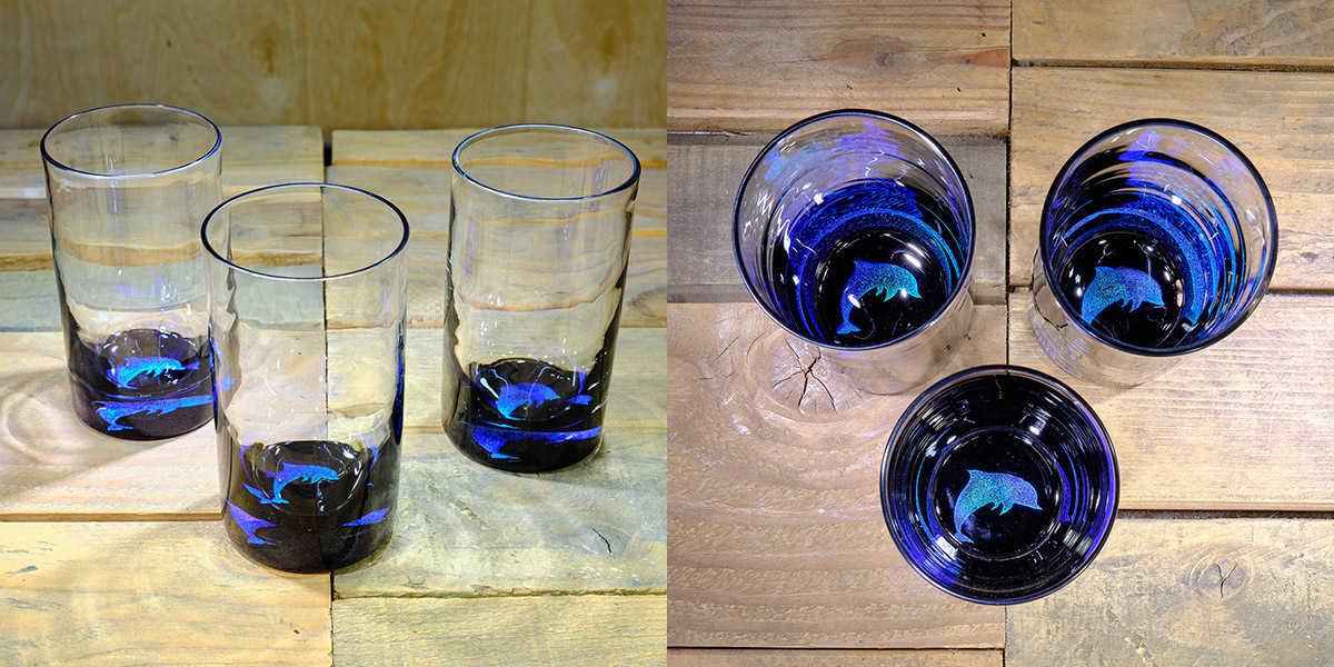 Dolphin Water Glass in Ocean Blue/Seafoam Green – $75 Each