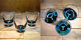 Whale Tail Rocks Glass in Brilliant Emerald/Ice Blue – $65 Each