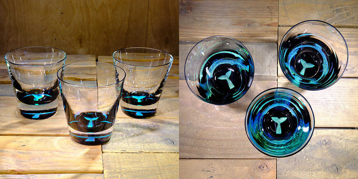 Whale Tail Rocks Glass in Brilliant Emerald/Ice Blue – $75 Each