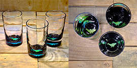 Whale Water Glass in Brilliant Emerald/Ice Blue – $65 Each