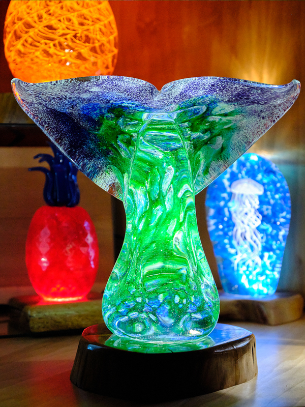 Huge Whale Tail with LED Light Base