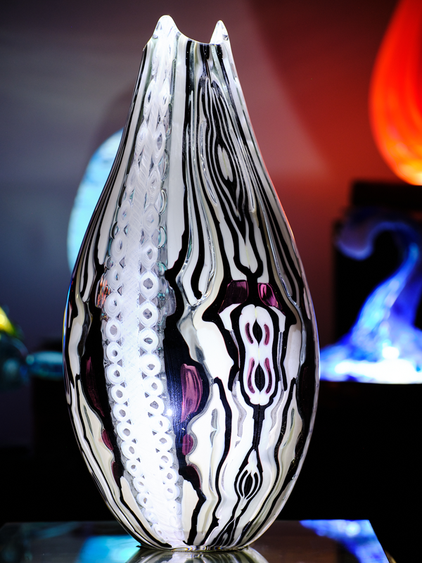 Pattern Bar Vessel with Murrine in Black White Purple and Grey