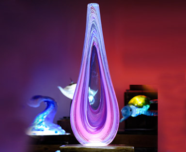 Tropical Rain Vessel in Lilac and Purple with Blue Accents with LED Light Base - Feture Image