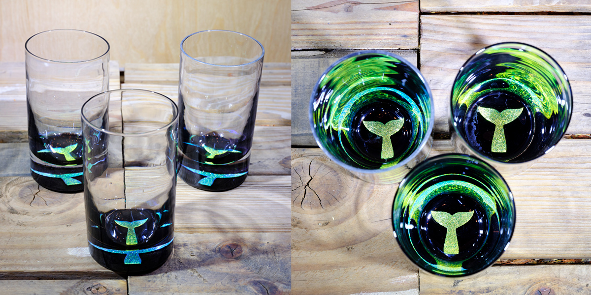 Whale Tail Water Glass in Brilliant Emerald/Ice Blue – $75 Each