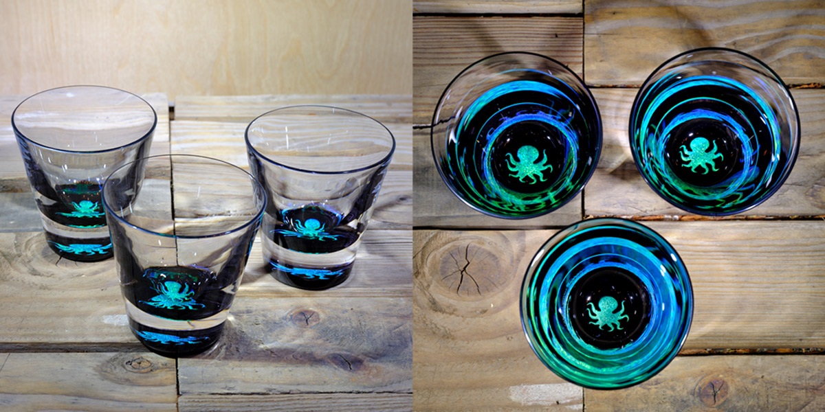 Octopus Rocks Glass In Brilliant Emerald/Ice Blue –  $75 Each