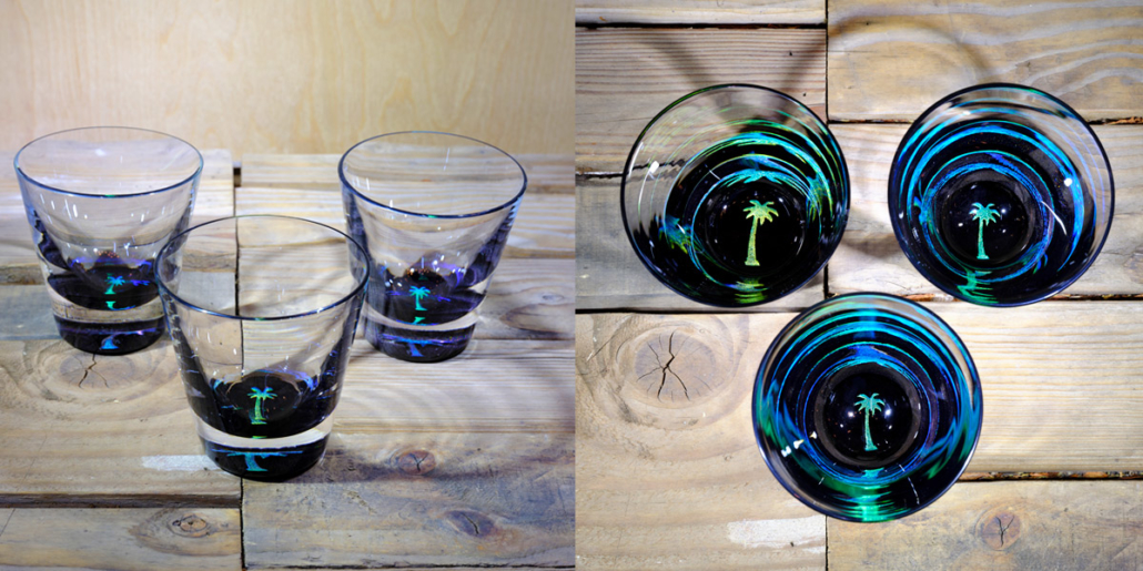 Palm Tree Rocks Glass In Brilliant Emeraldice Blue – $65 Each