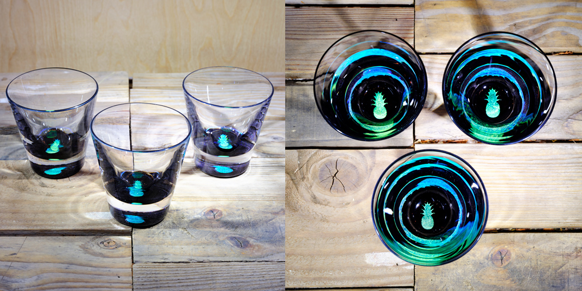 Pineapple Rocks Glass In Brilliant Emeraldice Blue  – $75 Each