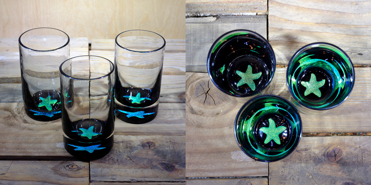 Starfish Water Glass in Brilliant Emerald/Ice Blue  – $75 Each