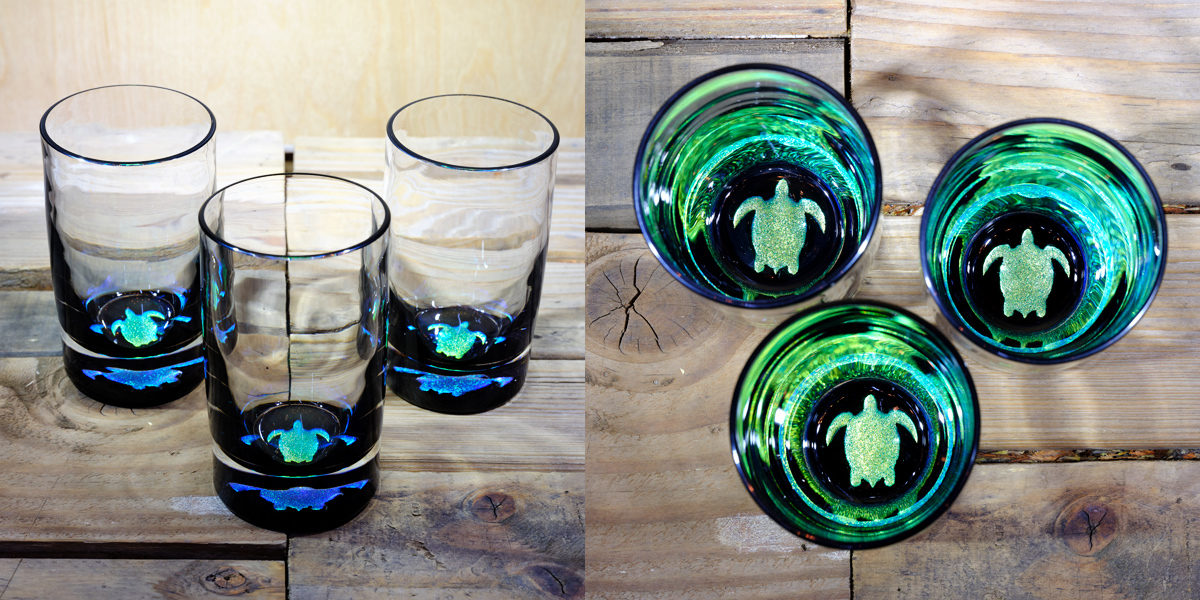 Turtle Water Glass in Brilliant Emerald/Ice Blue – $75 Each