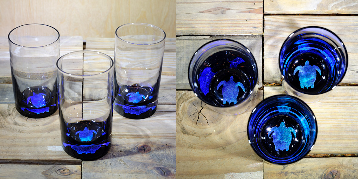 Turtle Water Glass in Ocean Blue/Seafoam Green  – $75 Each
