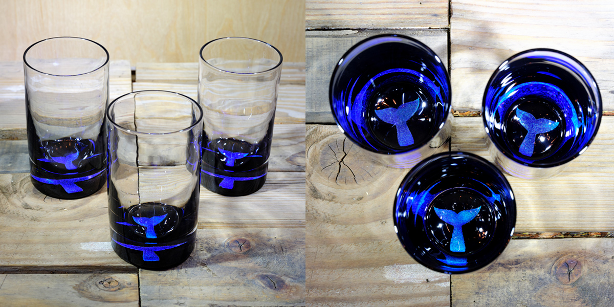 Whale Tail Water Glass in Ocean Blue/Seafoam Green  – $75 Each